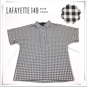NWT Lafayette 148 Plaid Pullover Style Shirt B&W